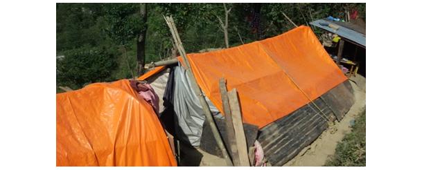 Una tenda di fortuna