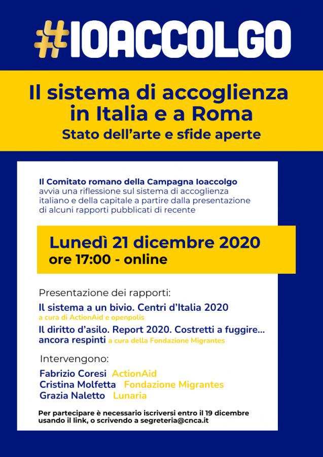 sistema di accoglienza in Italia e a Roma_ioAccolgo_Roma_21dicembre_online_programma